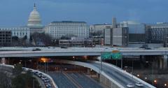 Ultra HD 4K Southeast Freeway Dusk Washington DC, commuting busy city iconic Stock Footage