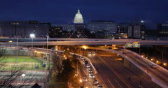 Stock Video Footage of Ultra HD 4K Illuminated Night Aerial Freeway US Capitol Congress Washington DC