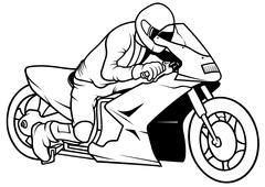Motorcycle And Driver Stock Illustration