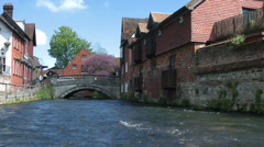 River Itchen at Winchester, England, United Kingdom Stock Footage