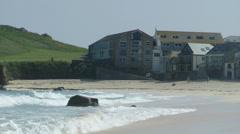 Waves at Porthmeor beach, St. Ives, Cornwall, United Kingdom Stock Footage