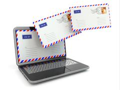 E-mail concept. laptop and envelopes Stock Illustration