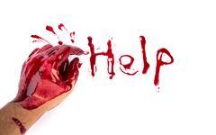 halloween concept : bleeding hand on the white background - stock photo