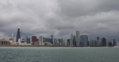 Ultra HD 4K Lake Michigan, Willis Tower, Chicago Skyline, John Hancock Center Stock Footage