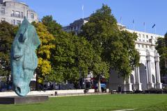 Horse head Sculpture and Marble Arch in London - stock photo