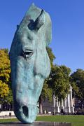 Horse Head Sculpture at Marble Arch in London - stock photo