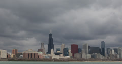 Ultra HD 4K Downtown Chicago Skyline, Metropolis City Center, Midwest Stock Footage