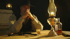 Stern look from a cowboy Stock Footage