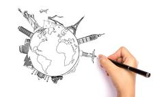 Drawing travel around the world (japan,france,italy ,new york,india,egypt,ch  Stock Photos