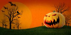 halloween pumpkin with background - stock illustration