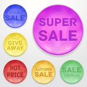 Stock Illustration of Promotional stickers. Colorful vector collection.