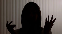 Anonymous Silhouette Girl Interview Stock Footage