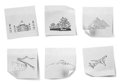 Drawing travel around the world on white note papers  (japan,india,egypt,ch i Stock Photos