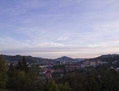 Sunset over Cesky Krumlov, Czech Republic. Time Lapse. Stock Footage