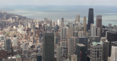 Ultra HD 4K John Hancock Center, Aerial view Downtown Chicago Skyline Stock Footage