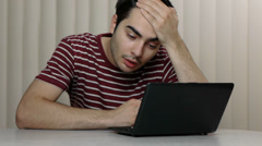 Bored & Depressed Man In Front Of Computer Stock Footage