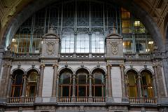Railway station in Antwerp. - stock photo