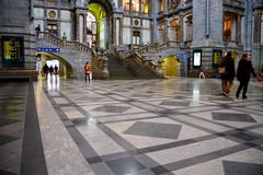 Railway station in Antwerp - stock photo