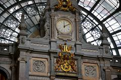 Close up of the train station indoors of Antwerp. - stock photo