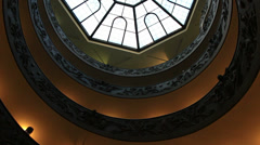 Vatican glass ceiling above staircase 4 Stock Footage