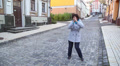 woman dancing in the street 2 Footage