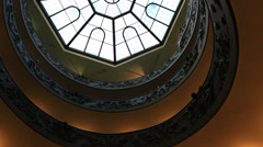 Vatican glass ceiling above staircase 3 Stock Footage