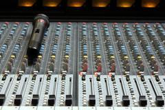 audio sound mixer with microphone - stock photo