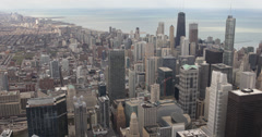 Ultra HD 4K John Hancock Center, Aerial view of Downtown Chicago Skyline Stock Footage