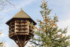 handmade wooden birdhouse - stock photo