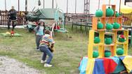Stock Video Footage of Angry birds childs game, children toss bird pile of toys, click for HD