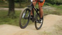 BMX bicycle unsuccessful attempt to ride the track, failed racer, click for HD - stock footage