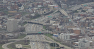 Ultra HD 4K Aerial view of Highway Traffic Jam, Downtown Chicago Skyline Freeway Stock Footage