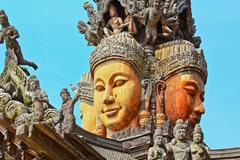 Sanctuary of truth in chonburi thailan Stock Photos