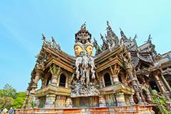 sanctuary of truth in chonburi thailan - stock photo