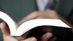 Closeup Reading The Bible Stock Footage