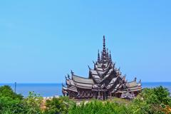 sanctuary of truth in chonburi thailan - stock photo