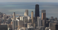 Ultra HD 4K Aerial view of John Hancock Center, Downtown Chicago Skyline Stock Footage