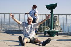 Hilarious senior man tourist on gibraltar rock Stock Photos