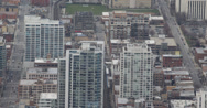 Ultra HD 4K Commuters, Car Traffic Jam, Aerial view of Downtown Chicago Skyline Stock Footage