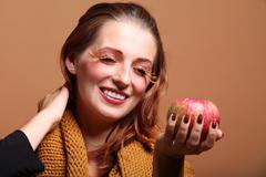 Autumn woman apple fashion female eye-lashes Stock Photos