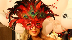 Masked model Haute Couture top fashion Stock Footage