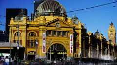 Flinders street railway station time lapse Stock Footage
