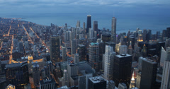 Ultra HD 4K Chicago Skyline, Aerial view Corporation Towers Buildings Dusk Stock Footage