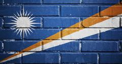 Stock Illustration of marshall islands flag on brick wall