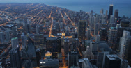 Ultra HD 4K Illuminated Buildings, Highrise, City Night Downtown Chicago Skyline Stock Footage