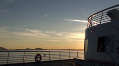 Beautiful View of Sunset at Sea From Deck of Alaska Marine Highway Ferry cursing Stock Footage