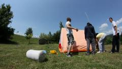 Camping (setting up a tent timelapse) Stock Footage