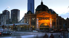 Stock Video Footage of flinders street melbourne