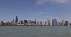 Ultra HD 4K Willis Tower, Chicago Skyline, Lake Michigan, Beautiful Sunny Day - stock footage