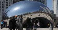Ultra HD 4K Chicago Cloud Gate Bean Sculpture Millennium Park, Skyline Downtown Stock Footage